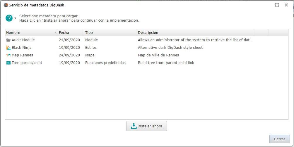 DigDash metadata service ES